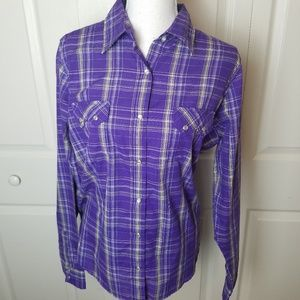 Wrangler Pearl Snap Western Plaid Purple Size XL